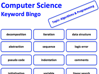 Computer Science keyword bingo game (Algorithms & Programming)