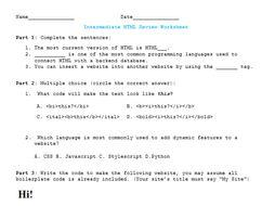 Intermediate HTML Coding Worksheet