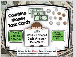 Counting (American) Money Task Cards with Self-checking Answer Code