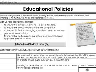 AQA Sociology - Year 1 - Education - Education and social policy