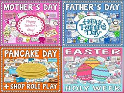 *BUNDLE* 4  CELEBRATIONS  - MOTHER'S DAY, FATHER'S DAY, PANCAKE DAY, EASTER