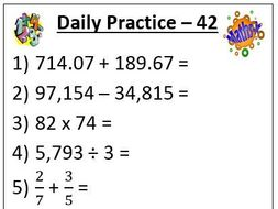 Maths Daily Practice Examples and Template by