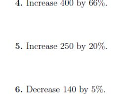 Increasing or decreasing an amount by a percentage (non-calculator) worksheet (with solutions)