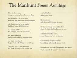 Stanza by stanza analysis of 'The Manhunt' by Simon Armitage