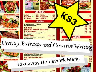 Literary Extracts and Creative Writing KS3 Takeaway Homework Menu