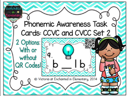 Phonemic Awareness Task Cards: CCVC and CVCC Set 2