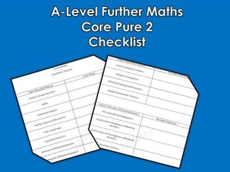 A-Level Further Maths Core 2 Pure Checklist