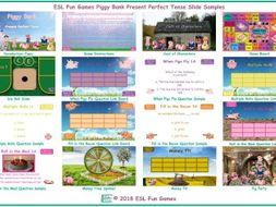 Present Perfect Tense Piggy Bank English PowerPoint Game