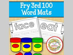 Sight Word Mats:  Fry 3rd 100 Word Mats – Black and White