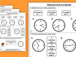 Year 3 Telling the Time to 5 Minutes Summer Block 2 Maths Homework Extension