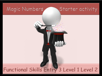 Starter activity - Magic Numbers Functional Skills E3 L1 L2