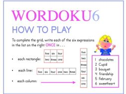 WORDOKU6 (A simplified word sudoku for Valentine's Day) 2.0