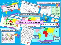 5 World oceans & recap 7 continents ks1 ks2 ks3 - an interactive & animated – 7 resources