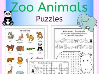 Zoo animals puzzles pack for a zoo topic or EFL ESL EAL