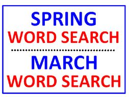 Spring Word Search Puzzle PLUS March Word Search (the Month of - 2 puzzles)