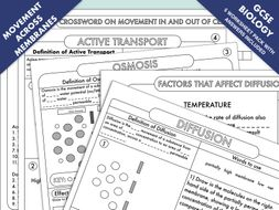 Gcse Biology Diffusion Osmosis And Active Transport Worksheet Pack