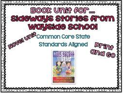 Novel Study for Sideways Stories from Wayside School -- Standards Aligned