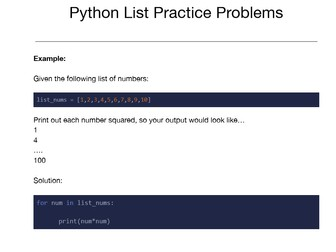 Python List Practice Problems