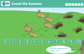 Counting Forwards and Backwards - Counting Bunnies Interactive Game - EYFS Number