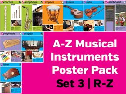 A-Z Musical Instruments Poster Pack Set 3: R-Z