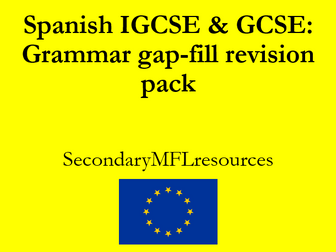 Spanish GCSE & IGCSE pack of grammar gap fill revision tasks