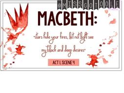 Macbeth Key Quotes Classroom Display Postcards
