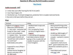 A Level History 3rd Crusade Detailed Revison Sheet By Osauwese