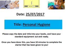 Personal Hygiene! A Life Skills/Citizenship lesson for students