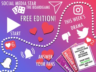 Social Media Star - (FREE EDITION) - A printable boardgame for all ages