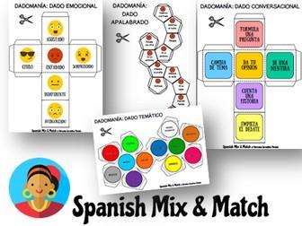 DADOMANÍA: DADOS PARA LA CLASE DE ESPAÑOL (12 PLANTILLAS)