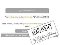 Keats Poetry Quotations Flash Cards AQA A Level Literature Anthology
