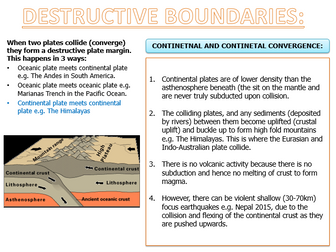 A LEVEL GEOGRAPHY PLATE BOUNDARIES AND LANDFORMS NOTES