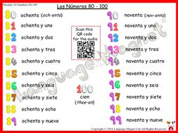 Spanish Numbers 0 to 100 Audio Sheets