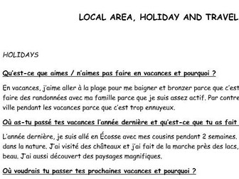 GCSE French conversation questions with model answers (Local area, Holiday and Travel)