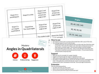 Angles in Quadrilaterals (Mystery)