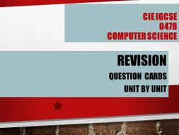 Revision flash cards with answers for Computer Science iGCSE 0478