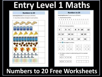 Entry Level 1 Maths: Numbers 1- 20