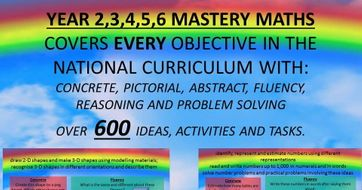 YEAR 2,3,4,5,6 MASTERY MATHSCOVERS EVERY OBJECTIVE IN THE NATIONAL CURRICULUM WITH:CONCRETE, PICTORIAL, ABSTRACT, FLUENCY, REASONING AND PROBLEM SOLVINGOVER  600 IDEAS, ACTIVITIES AND TASKS.