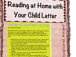 Reading At Home With Your Child Letter To Parents Guardians By