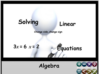 Solving Linear Equations Interactive, Animated PowerPoint and worksheet -  GCSE