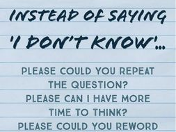 Poster: What To Say Instead of I Don't Know