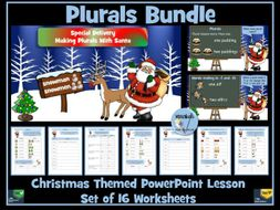 Plurals Bundle - Christmas Themed PowerPoint Lesson  and 16 Worksheets