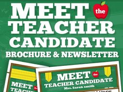 Meet the teacher candidate template newsletter flyer for Meet the teacher brochure template