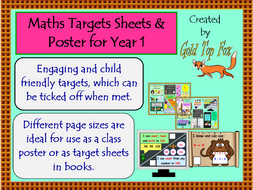 maths targets sheets and poster for year 1 by goldtopfox teaching