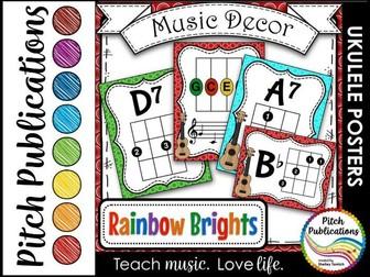 Music Decor Rainbow Brights - Ukulele Chord Chart Posters