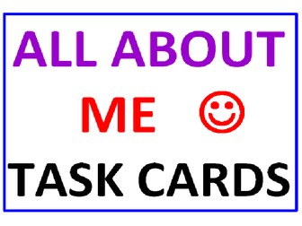 All About Me Task Cards WITH Lesson Plan