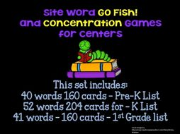 "Sight Word ""Go Fish"" and ""Concentration""  Pre-K, K and 1st Word Lists"