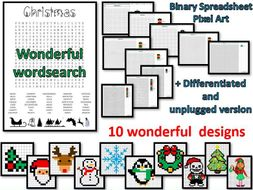 Christmas wordsearch plus binary pixel art - spreadsheet + unplugged - A MUST!