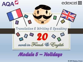 GCSE French - Q&A / Translation Card Set (Module 5: Holidays)