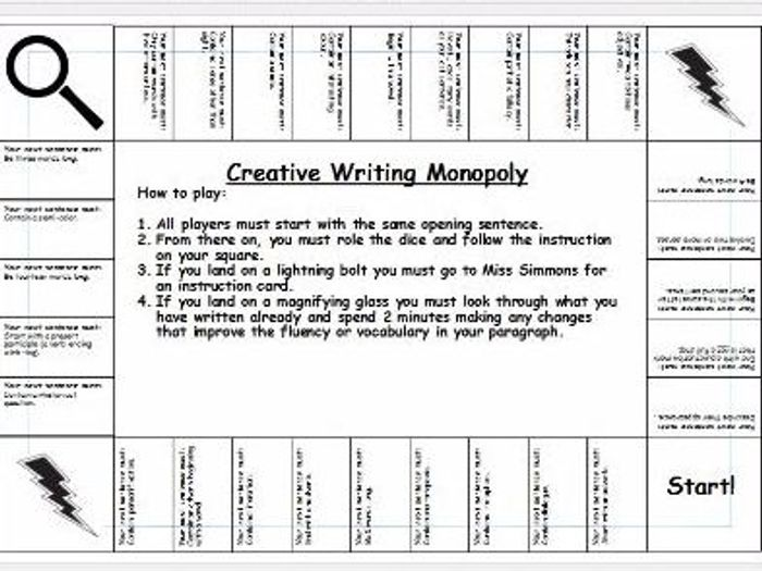 creative writing slow writing monopoly by simmonsj1 teaching rh tes com Monopoly Board Game Geek Monopoly Board Game PowerPoint